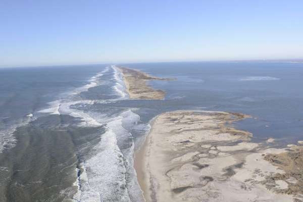 A view of the breach caused by Superstorm
