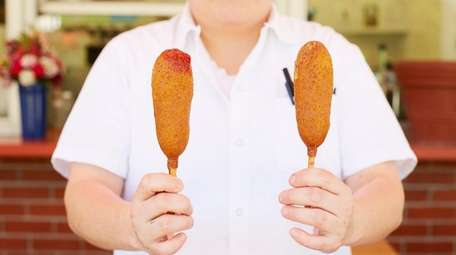 Corn dogs at Jennie's at Drossos in Greenport.