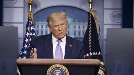 President Donald Trump speaks during a briefing at