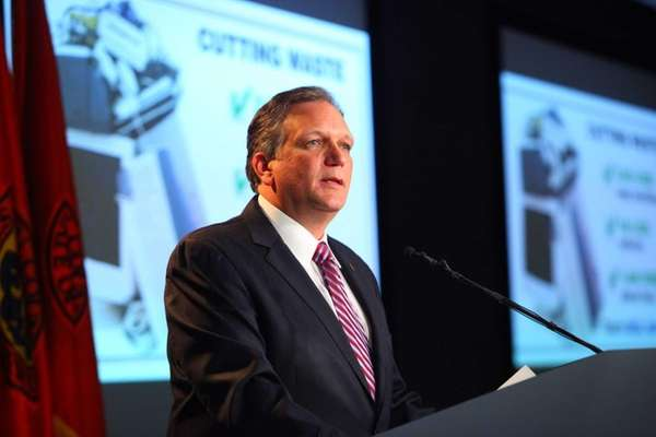 Nassau County Executive Edward Mangano delivers the 2013