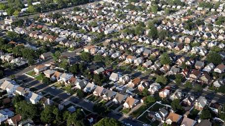 A neighborhood of houses in Elmont, NY is