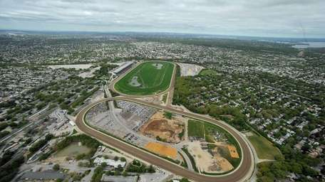 An aerial view of Belmont Racetrack in Elmont.