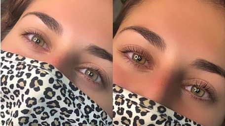 Before and after of a lash lift and
