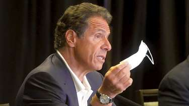 New York Gov. Andrew Cuomo during a news