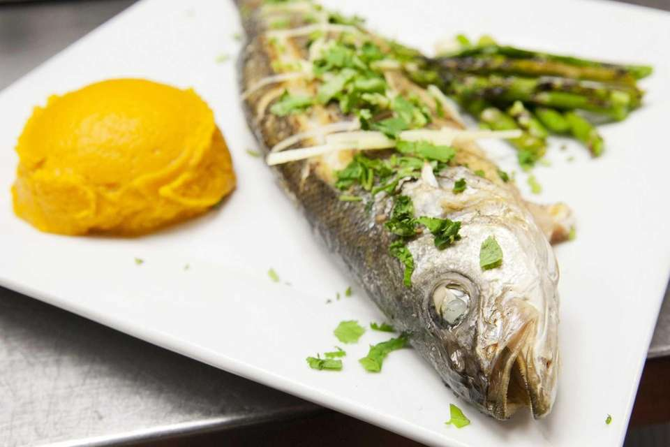 West East's whole wok-seared branzino. (March 2, 2013)