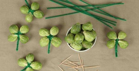 Brussels sprout shamrock craft from KitchenDaily.com, a cooking
