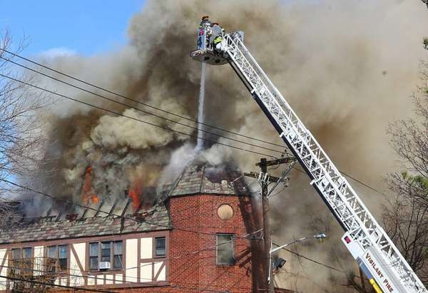 Firefighters battle fire on Main Street in Port
