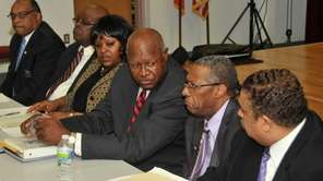 (L-R) Candidates Lance Clarke, Trustee Henry Conyers, Theresa