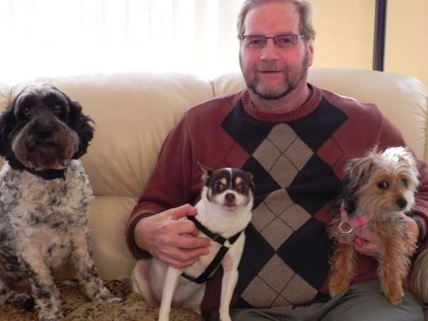 Reader Jerry Bilinski of Riverhead with his dogs,
