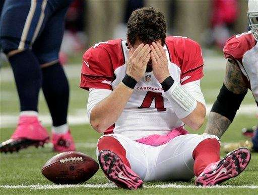 Arizona Cardinals quarterback Kevin Kolb reacts after being