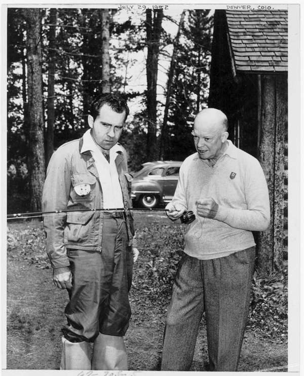 Dwight D. Eisenhower, left, teaches running mate Richard