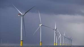 Wind turbines at the London Array project. Long