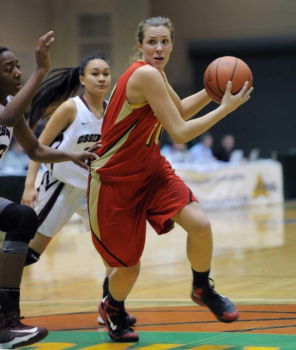 Sachem East's Kathleen Everson drives in the lane.