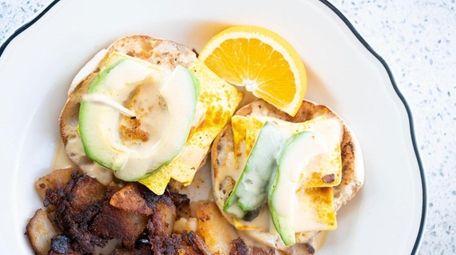 """Vegan """"eggs"""" Benedict at the Lindenhurst Diner."""