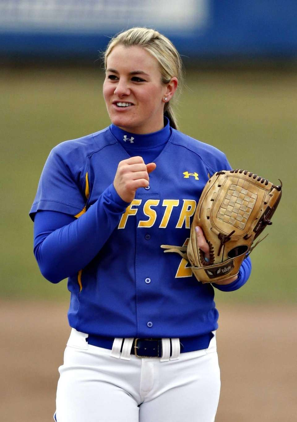 Hofstra starting pitcher Olivia Galati relaxes between pitches