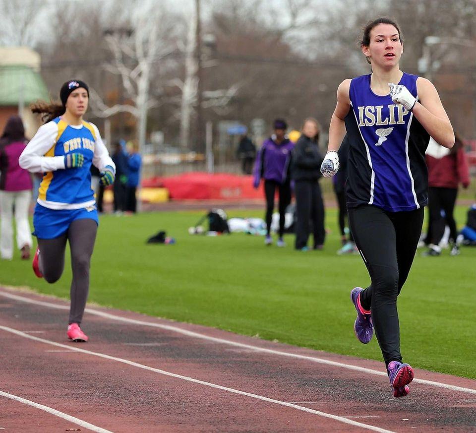 Islip's Alexa Cassara (right), wins the 800 meter
