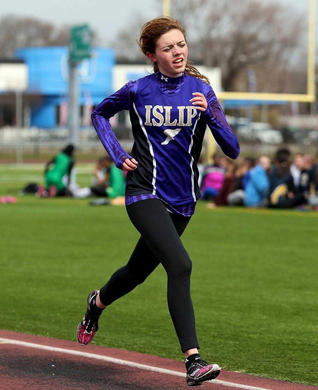 Islip's Kaitlin Hicks wins the 3000 meter run.