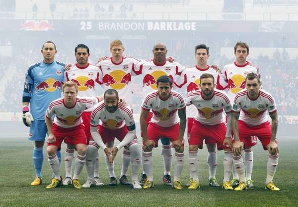 The starting lineup of the Red Bulls pose