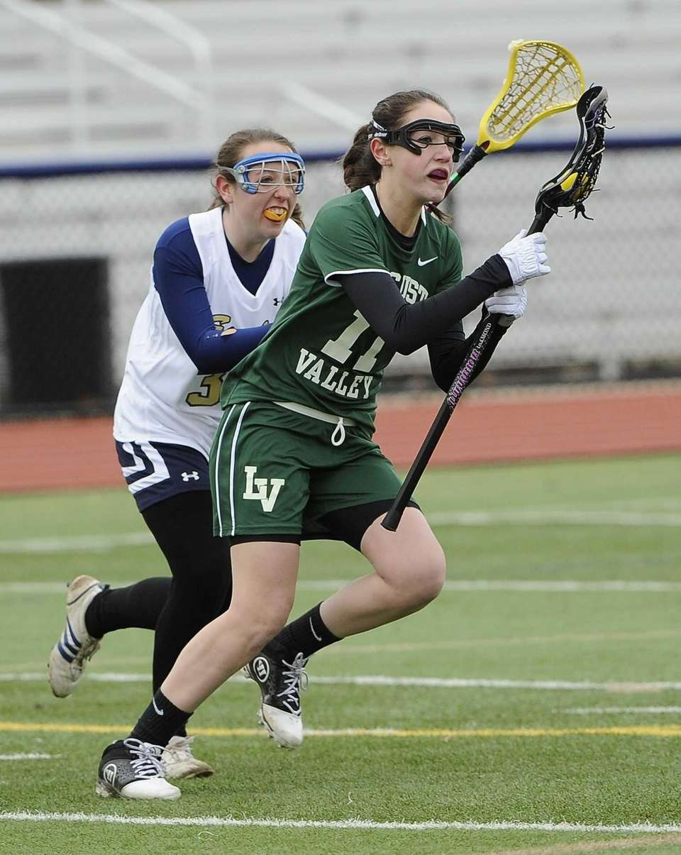 Locust Valley's Kameron Palagonia drives to the goal
