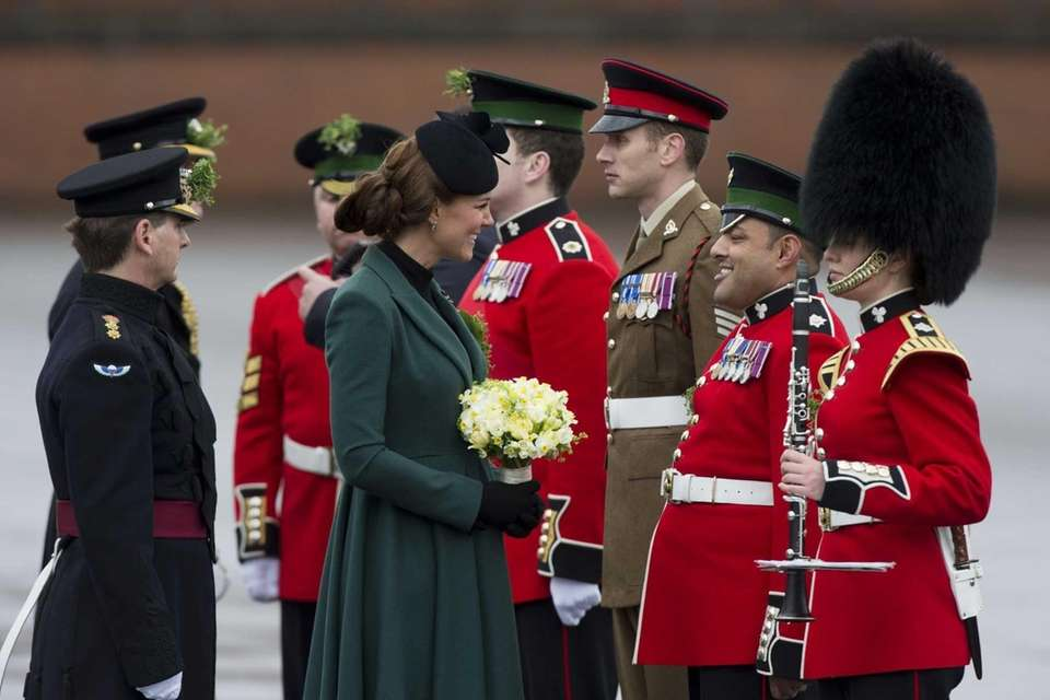 Kate Middleton meets members of the 1st Battalion