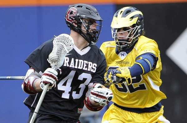 Colgate attacker Ryan Walsh, left, scored three goals