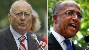 Left: Former U.S. Senator Alfonse D'Amato speaks during