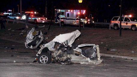 The scene of a fatal single-vehicle crash on
