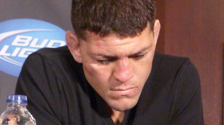 Nick Diaz from the United States, speaks to