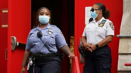 School safety officers wearing masks to prevent coronavirus