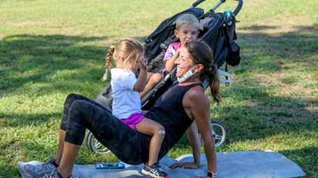 Fitness instructor Rachel Goodale, with her daughter Reagan,