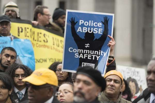 Demonstrators hold a rally in Foley Square on
