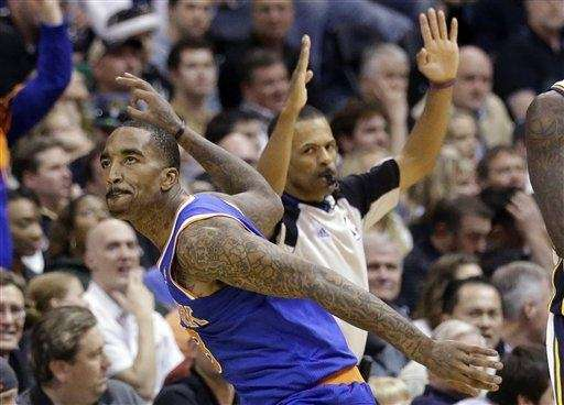 J.R. Smith celebrates after a making a three-pointer