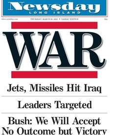 Newsday's cover on March 20, 2003.