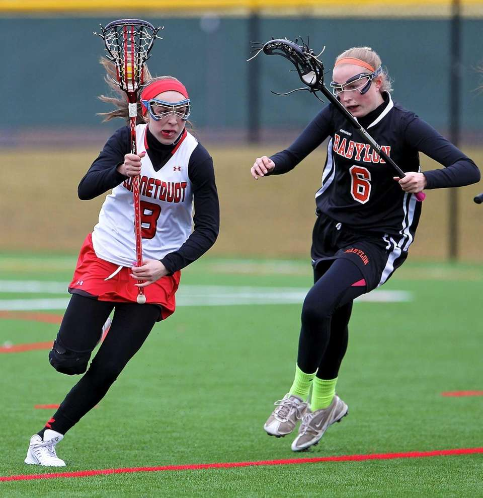 Connetquot's Samantha Rifice moves behind the net as