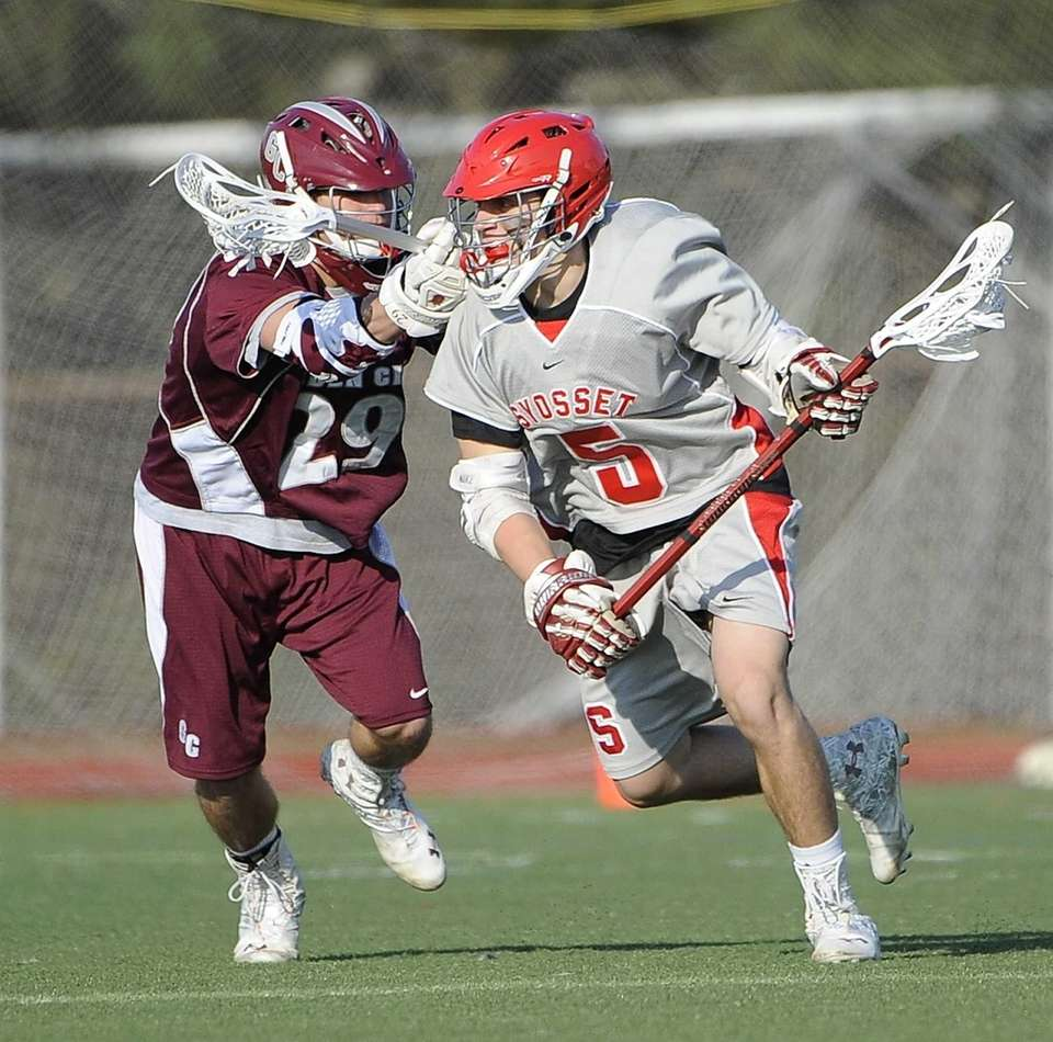 Garden City midfielder Matt Leto guards Syosset midfielder