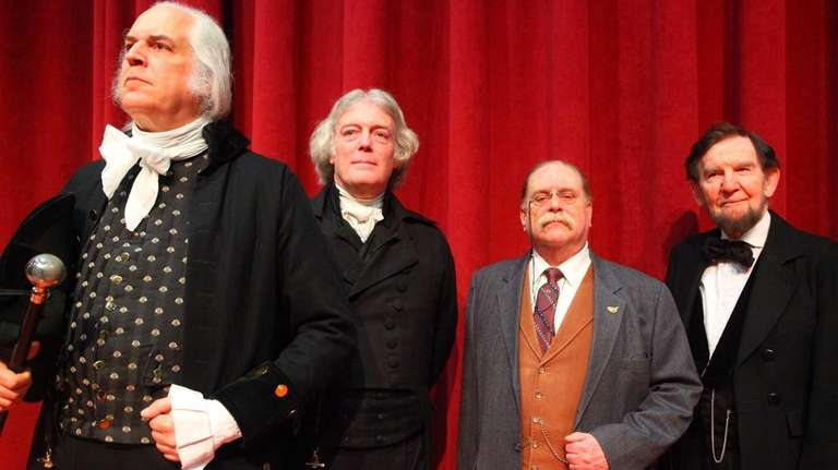 (L-R) Dean Malissa, playing George Washington, Bill Barker,