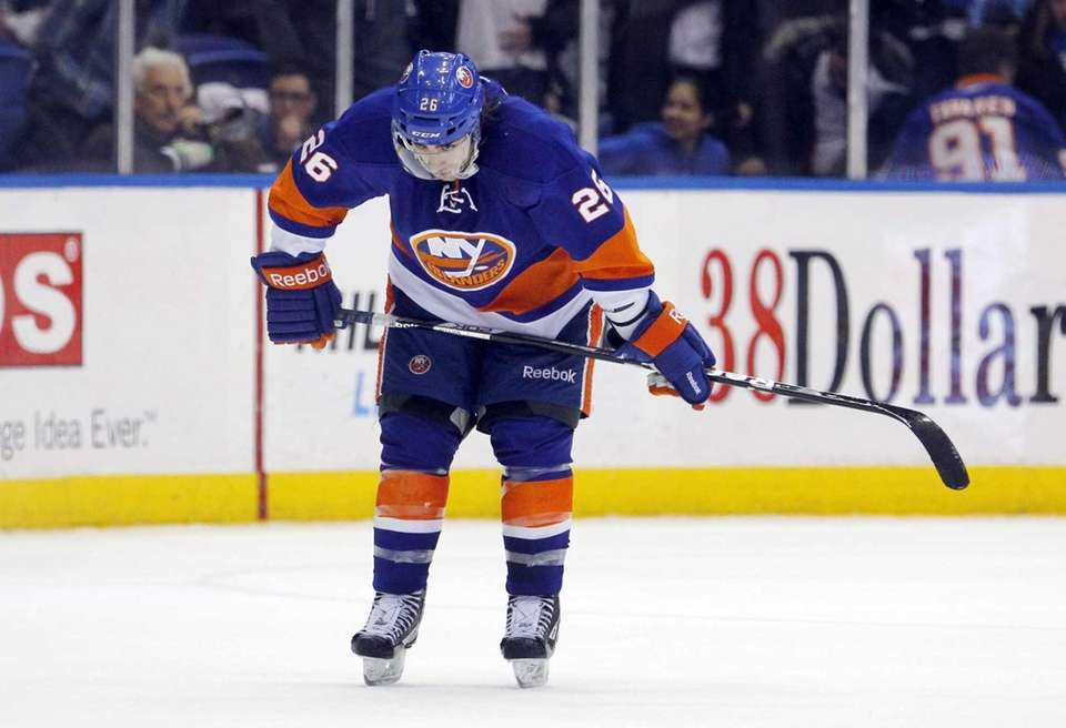 Matt Moulson of the Islanders looks on late