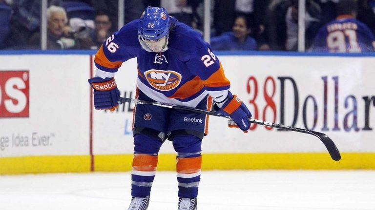 Matt Moulson of the Islanders looks on late
