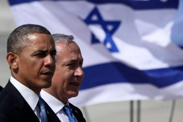 President Barack Obama is greeted by Israeli Prime