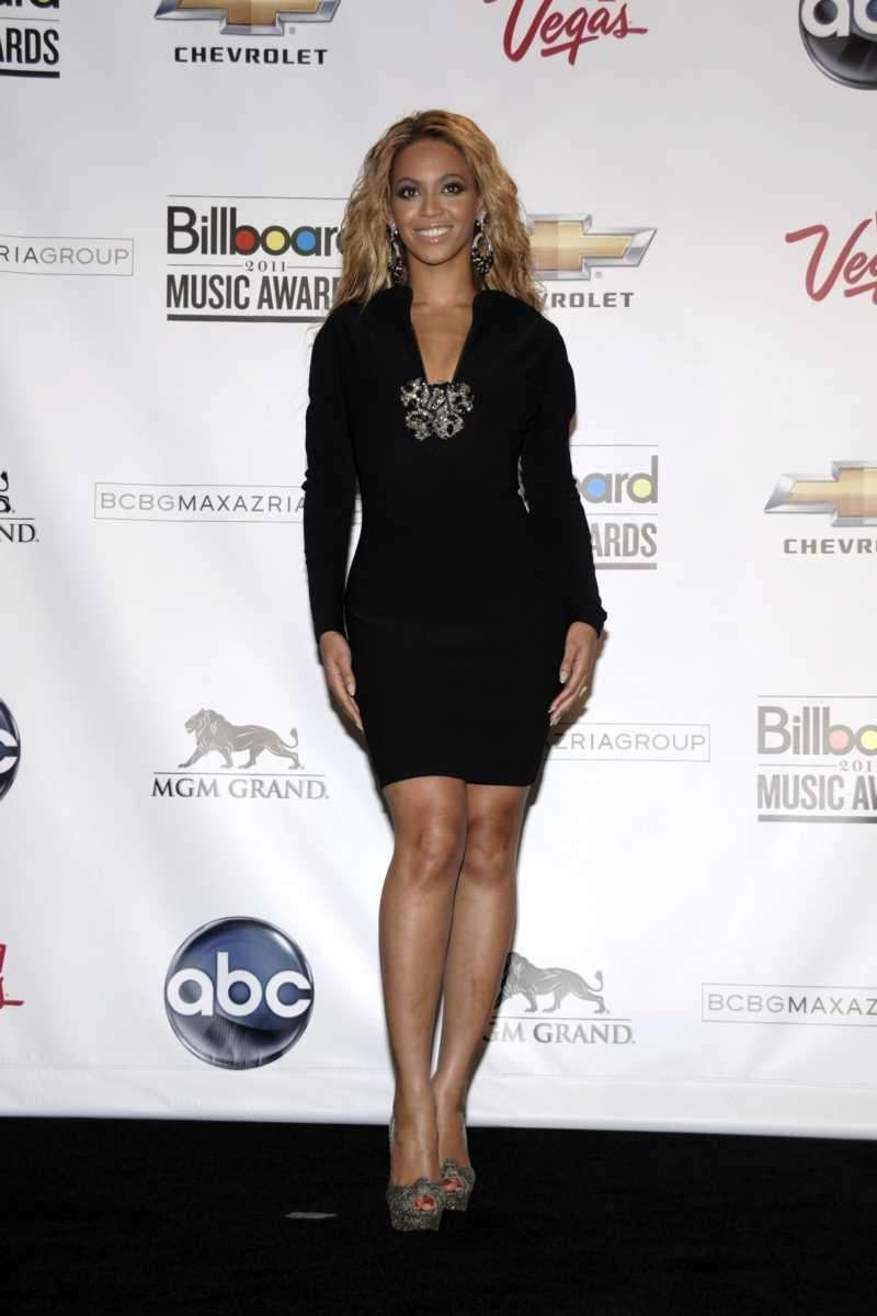 Singer Beyonce Knowles poses in the press room