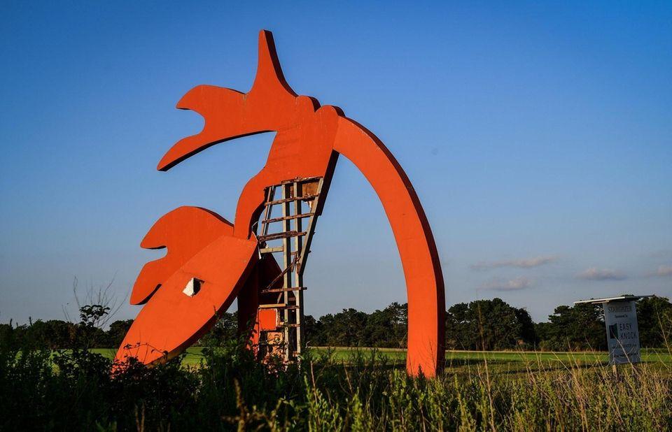 "The ""Stargazer"" sculpture by Linda Scott, stands in"