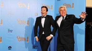 Presenters Jimmy Fallon, left, and Jay Leno in
