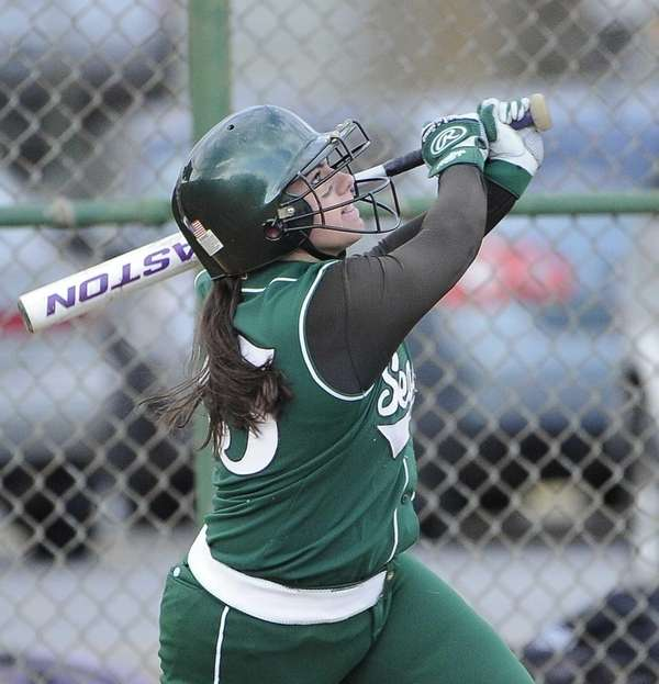 Seaford's Lindsay Montemarano follows through for a double