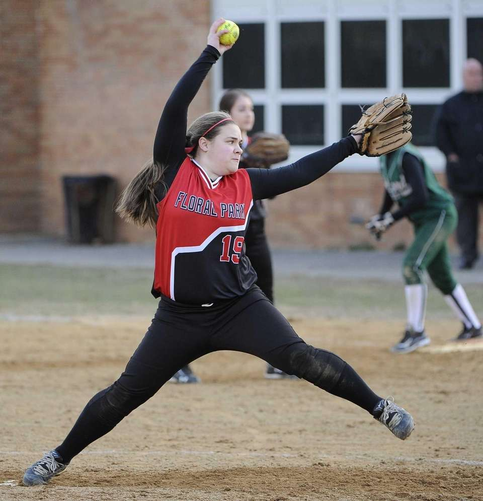 Floral Park pitcher Jackie Cohen delivers a pitch