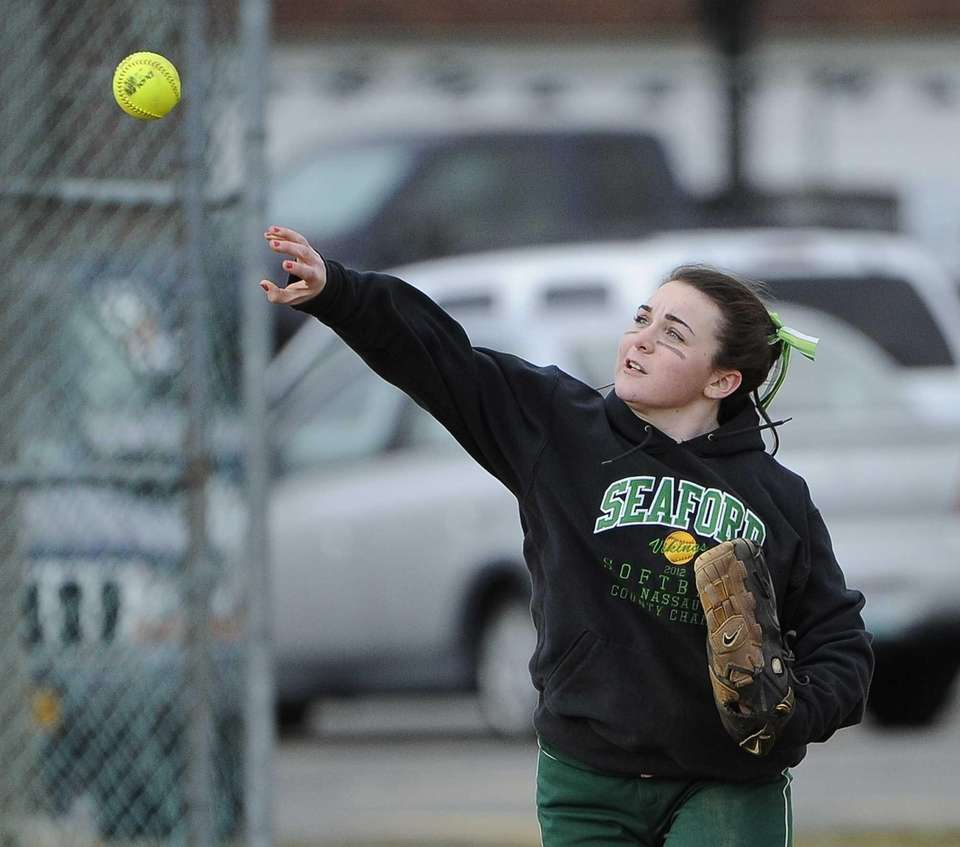 Seaford's Christina Gilbert throws the ball to first