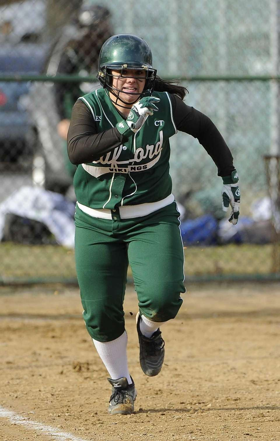 Seaford's Lindsay Montemarano runs the bases after hitting