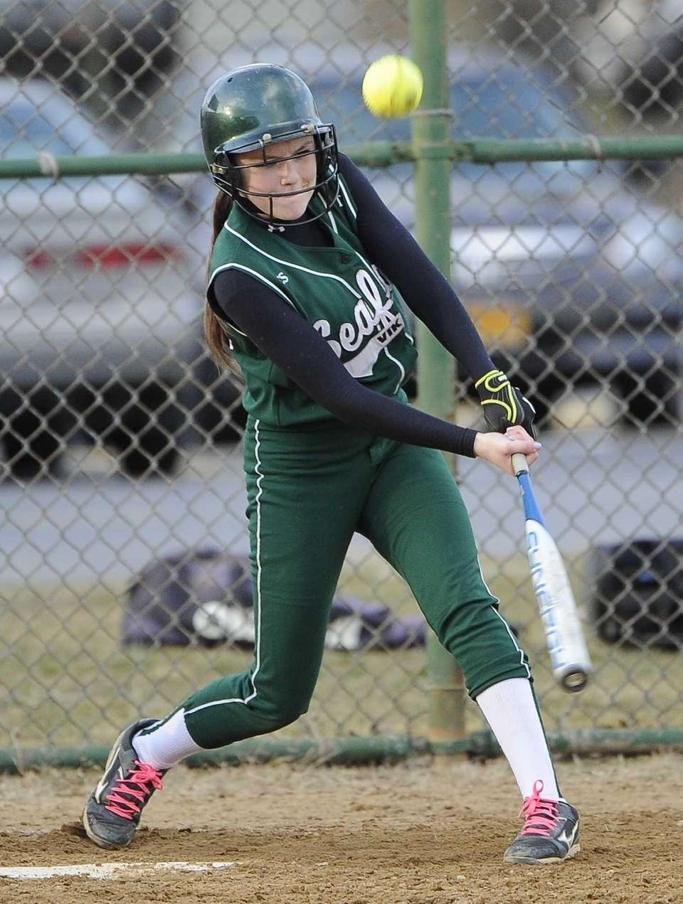 Seaford's P. De Napoli hits an RBI single