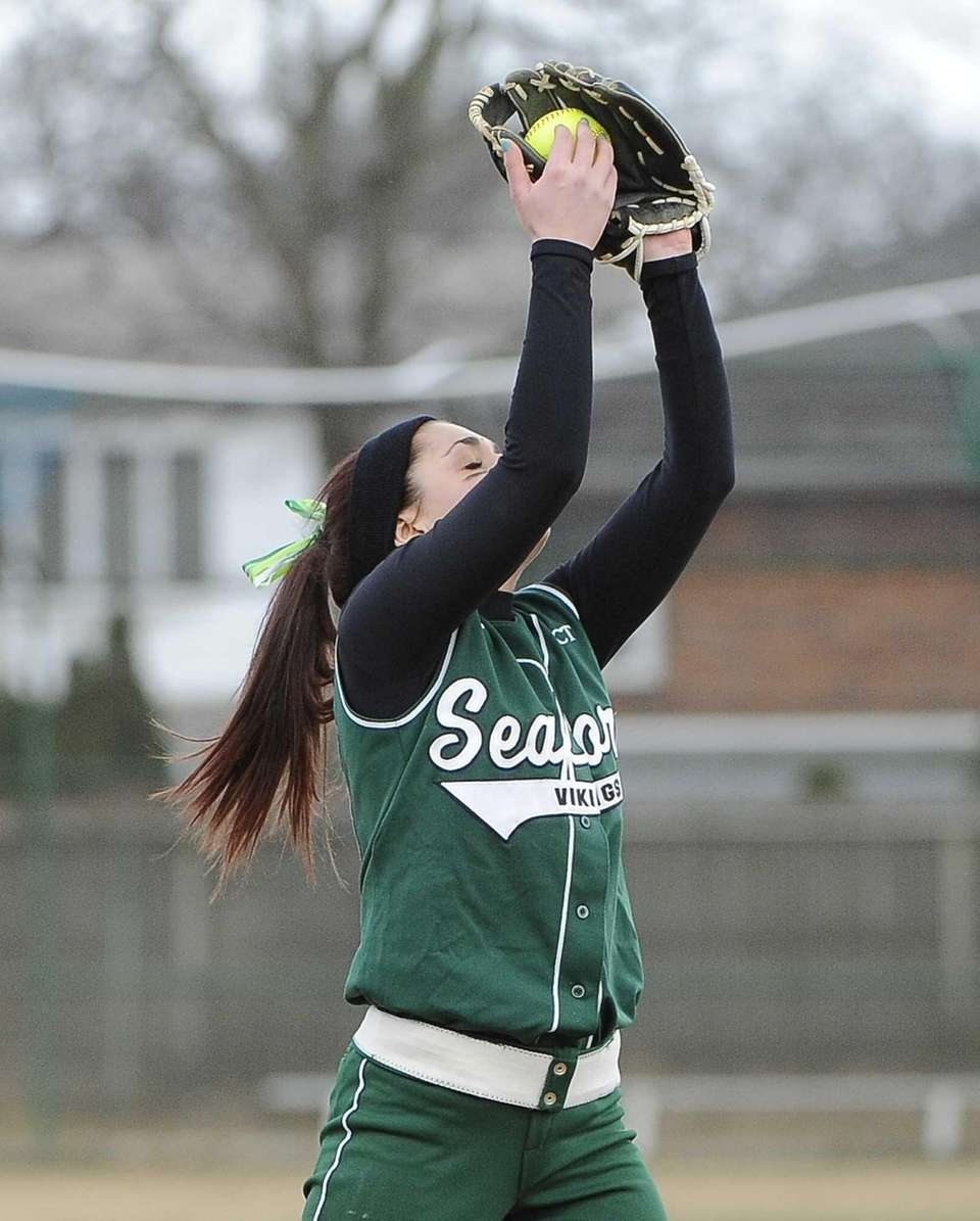 Seaford's Courtney Carbone makes a catch for the