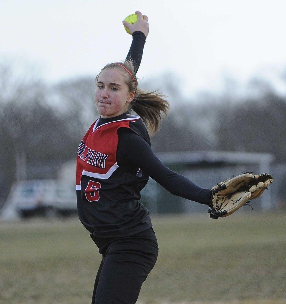 Floral Park pitcher Emma Schlechter delivers a pitch