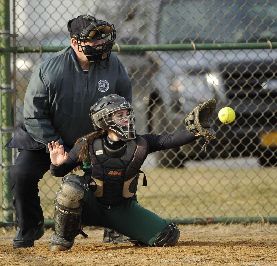 Seaford catcher Alex Palazzolo catches a called strike